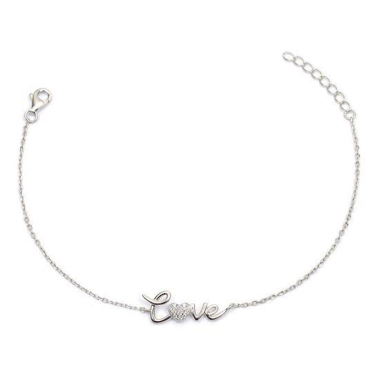 bracelet,love,argent,rhodie,oxyde,de,zirconium